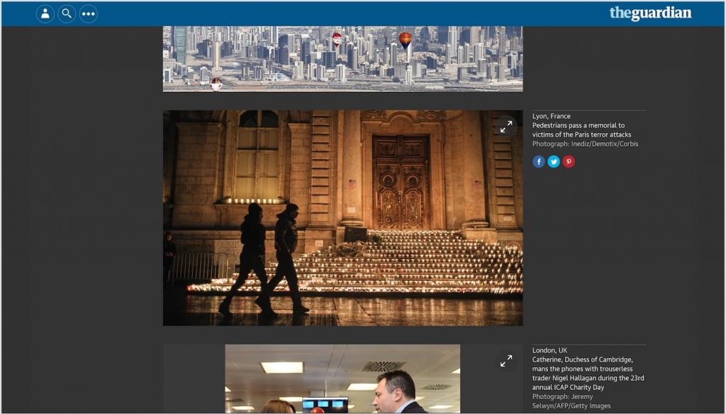 Une image prise lors de la Fête des Lumières à Lyon a été choisie dans la sélection des meilleures photos du jour sur le site internet du Guardian.